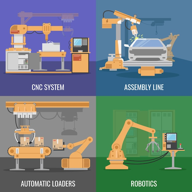 Four square automated assembly icon set with descriptions of cnc system assembly line automatic loaders and robotics vector illustration Free Vector