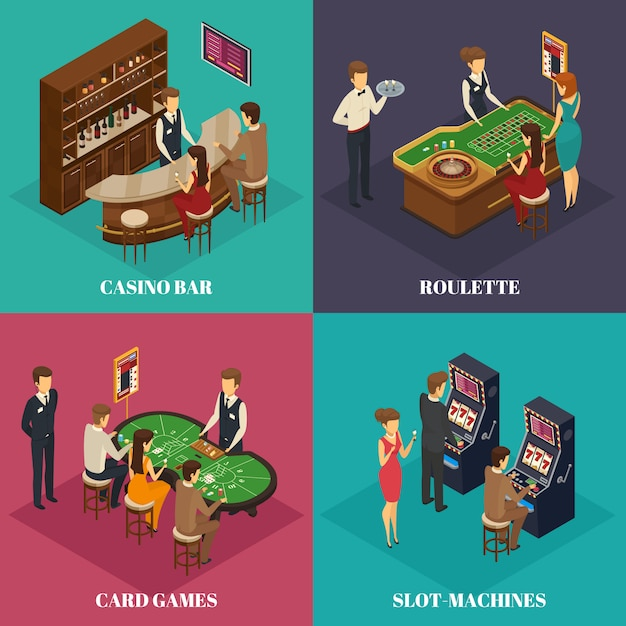 Four square casino isometric composition with casino bar roulette card games and slot machines descriptions Free Vector