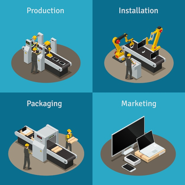 Four square colored electronics factory isometric composition with production installation packaging and marketing Free Vector