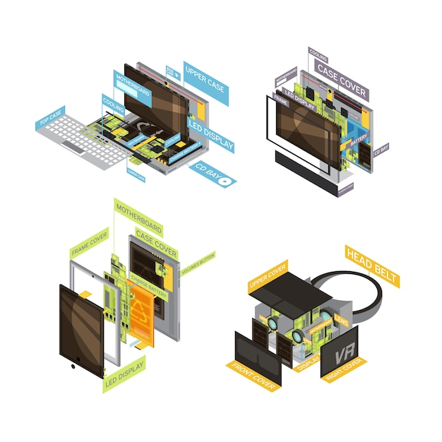 Four square colored gadgets scheme composition set with types and parts of computers and tablets vector illustration Free Vector