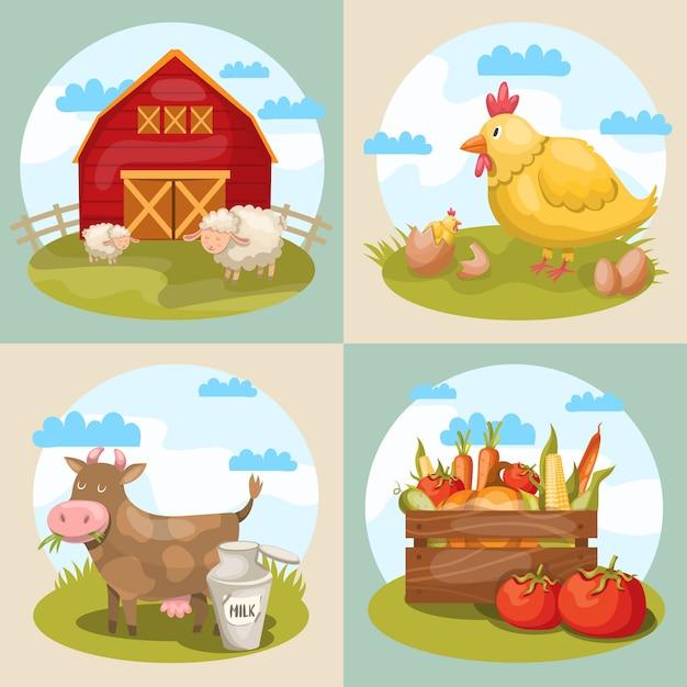 Четыре квадратные композиции с различными мультяшными символами фермы со склада животных, коровьих куриных ягнят и овощей Бесплатные векторы