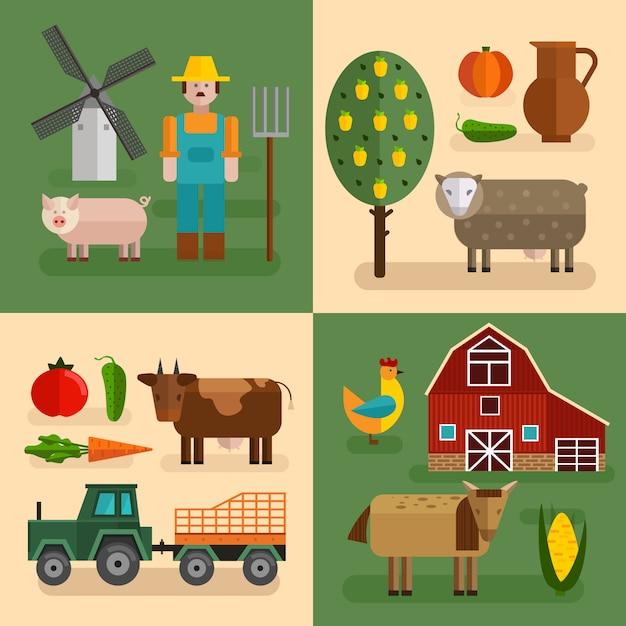 Четырехугольная плоская фермерская композиция с различными типами ферм Бесплатные векторы