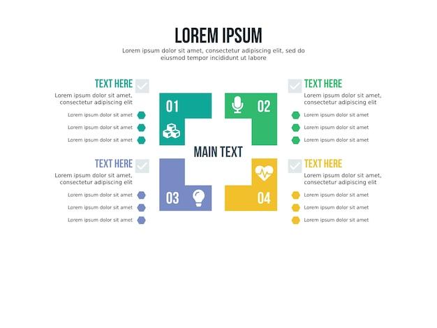 四角形のインフォグラフィック要素とプレゼンテーションテンプレート Premiumベクター