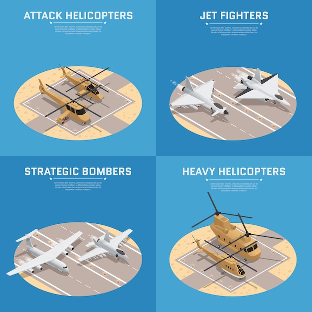 Four square isometric military air force icon set Free Vector