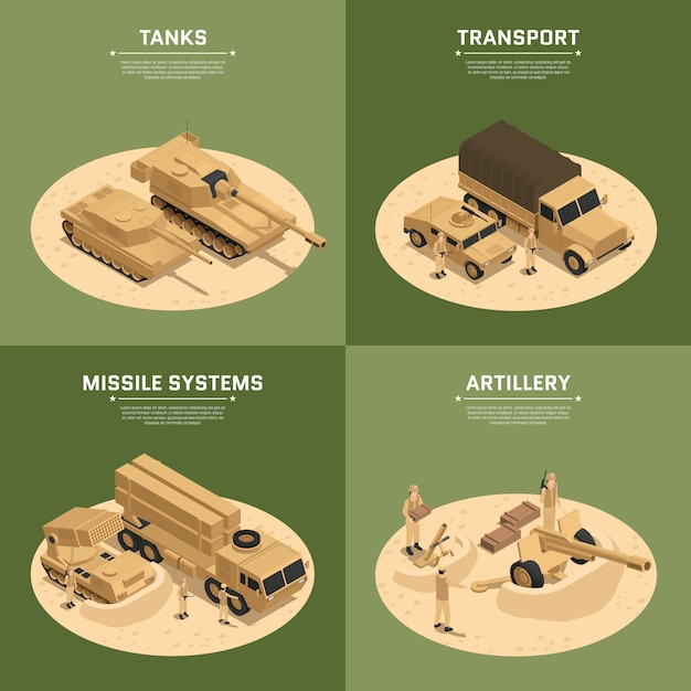 Four square military vehicles isometric icon set Free Vector
