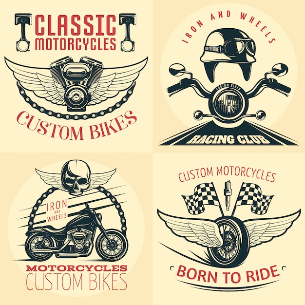 Four square motorcycle detailed emblem set on light with descriptions of custom bikes born to ride and iron and wheels vector illustration Free Vector