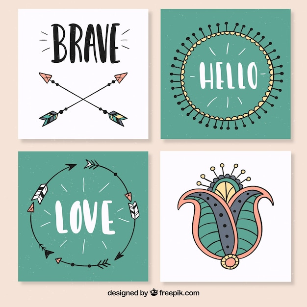 four square postcards in boho style vector free download