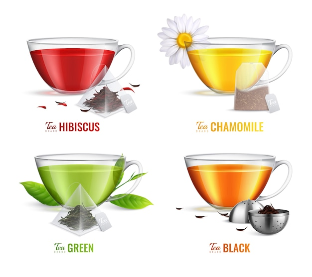 Четыре квадратных реалистичный набор для заваривания чая с зеленым и черным чаем со вкусом ромашки зеленого и черного чая Бесплатные векторы