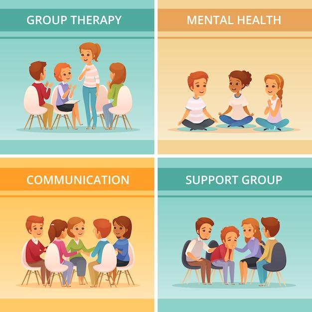 メンタルヘルスコミュニケーションとサポートグループの説明で設定された4つの正方形の漫画グループ療法アイコン 無料ベクター