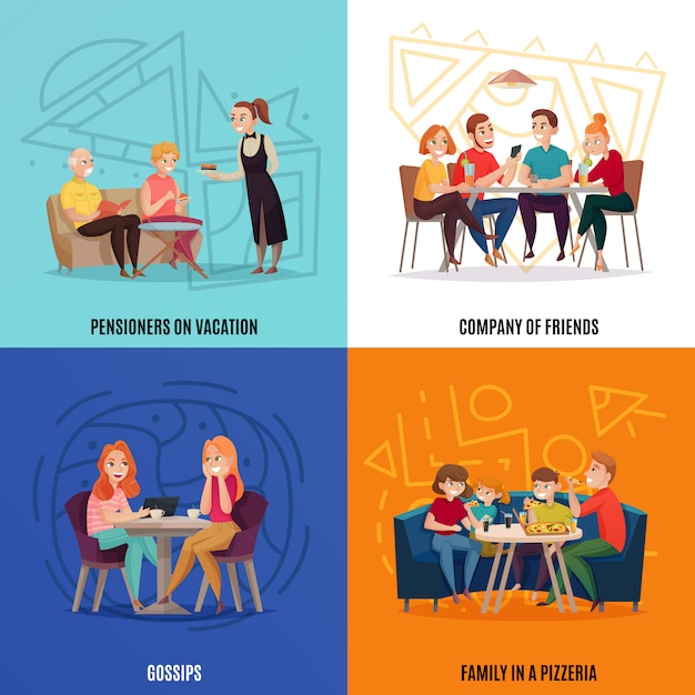 Four squares restaurant pub visitors concept with pensioners on vacations company of friends gossips and family in a pizzeria Free Vector