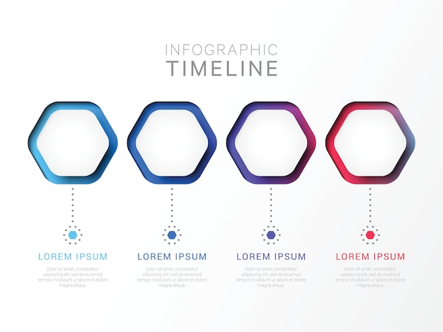 Four steps 3d infographic template with hexagonal elements. Premium Vector