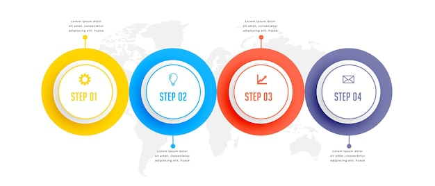 Progettazione del modello di infographic di affari circolari in quattro passaggi Vettore gratuito