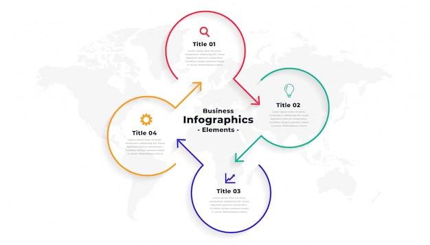 4つのステップの方向線インフォグラフィックテンプレート 無料ベクター