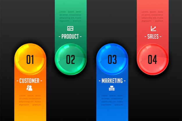 Four steps infographic presentation dark template Free Vector