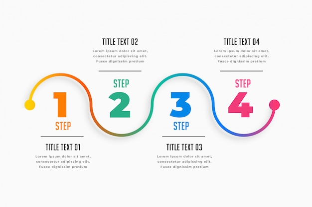 Four steps infographic timeline template Free Vector