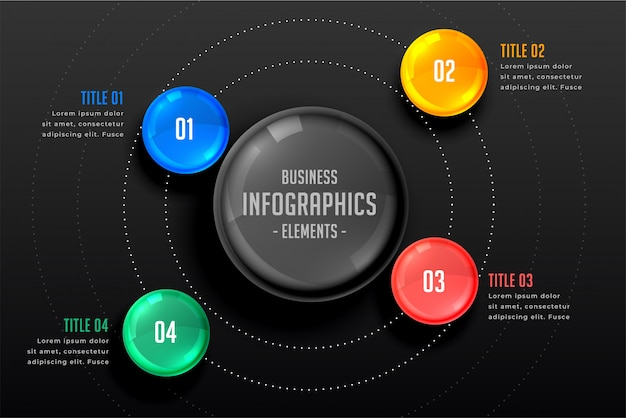 Four steps infographics dark template Free Vector