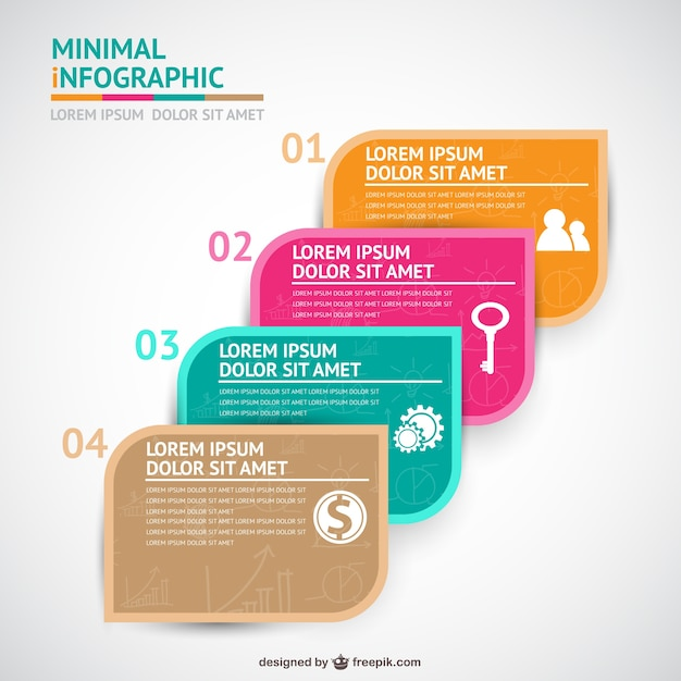 four steps infographics template vector free download