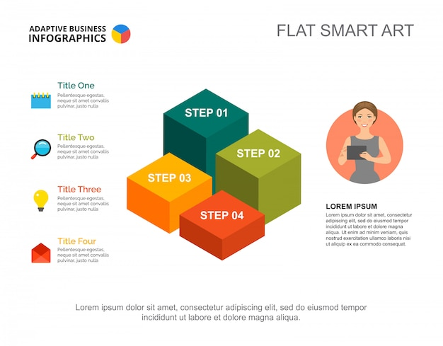 Four steps list process chart template for presentation. business data. diagram, graphic Free Vector