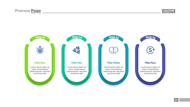 Four steps project process chart template for presentation. Free Vector