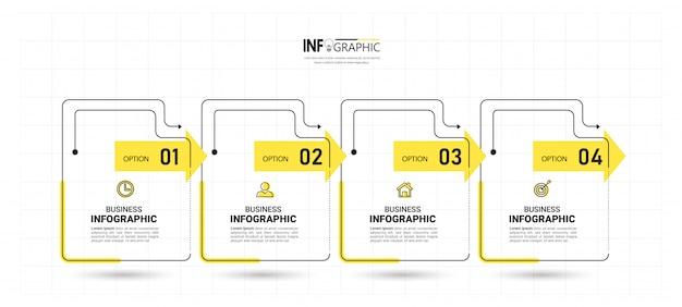 4つのステップのタイムラインインフォグラフィックデザイン Premiumベクター