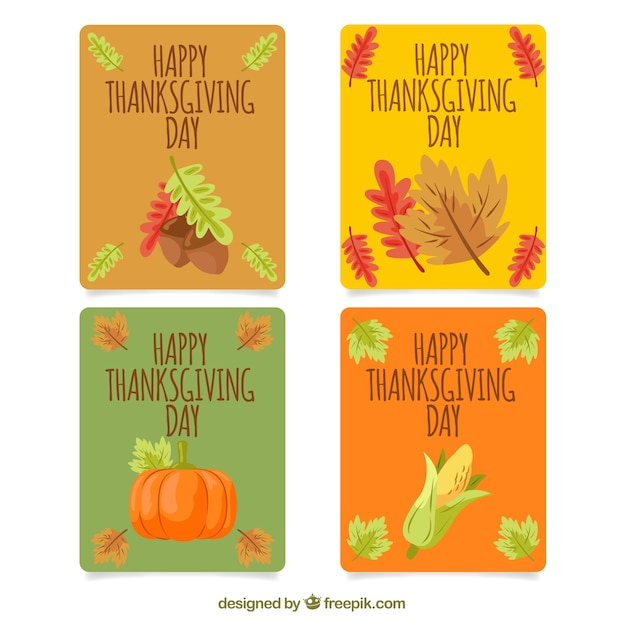 Four thanksgiving cards in vintage style
