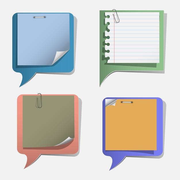 Four torn paper speech bubbles Premium Vector