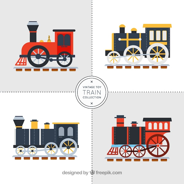 Four train wagons in flat design Free Vector