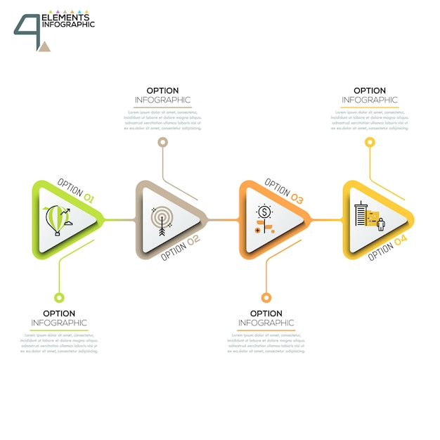 Four triangular elements or arrows with pictograms in thin line style and text boxes Premium Vector