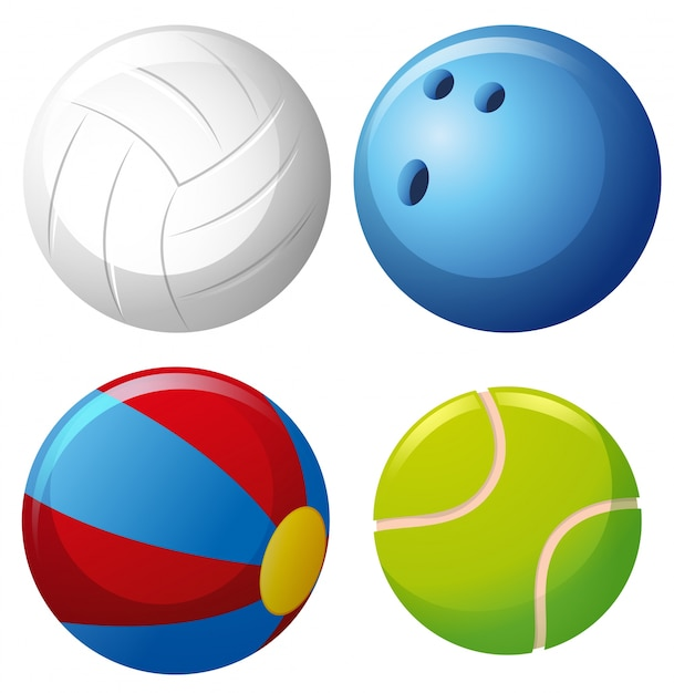 Four types of balls Free Vector