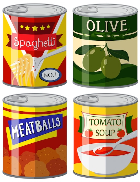 Four types of canned food in set illustration Free Vector