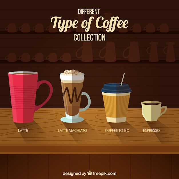 Four types of coffee in a coffee shop