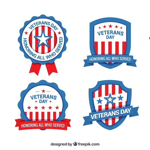 Four veterans day labels
