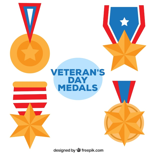 Four veterans day medals