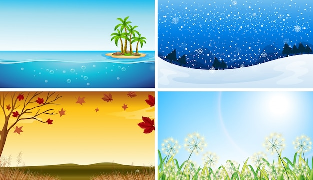 Four view of different seasons\ illustration