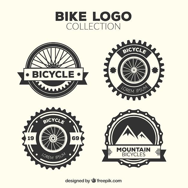 Four Vintage Bicycle Logos Vector Free Download