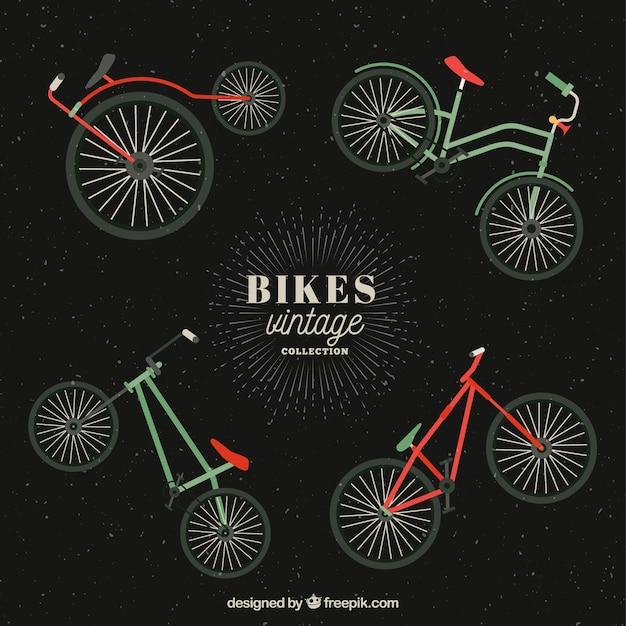 Four vintage bikes in flat design