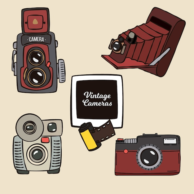 Four vintage cameras, hand drawn