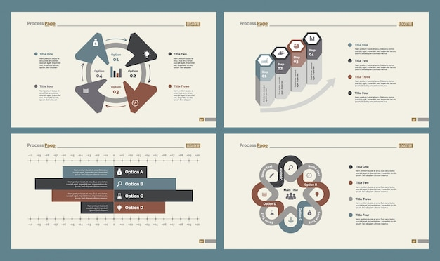four workflow charts slide templates set vector free download