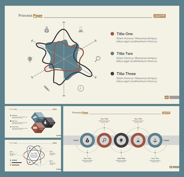 Four Workflow Slide Templates Set Vector | Free Download
