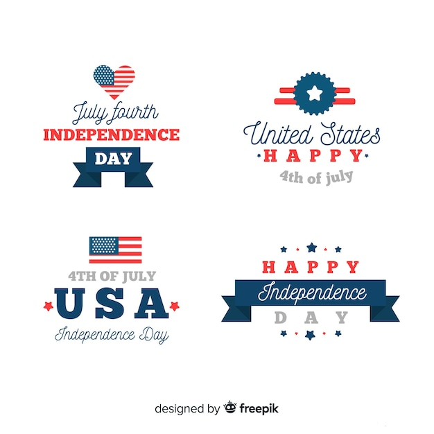 Fourth of july badge collectio Free Vector