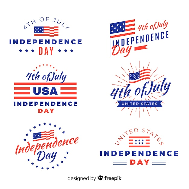 Fourth of july badge collection Free Vector