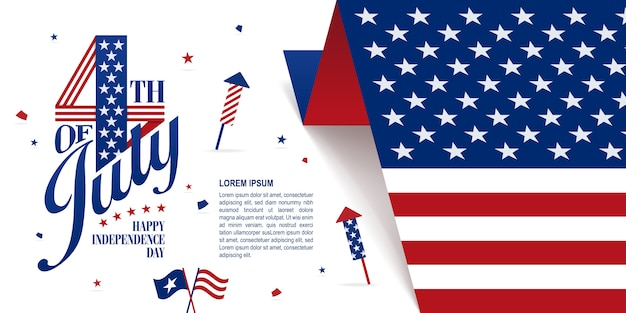 Fourth of july banner Premium Vector