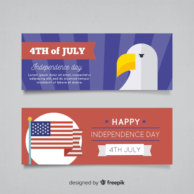 Fourth of july banners Free Vector