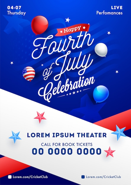 Fourth of july celebration template or flyer design with balloon Premium Vector