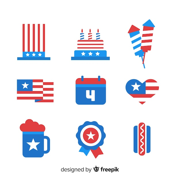 Fourth of july element collectio Free Vector