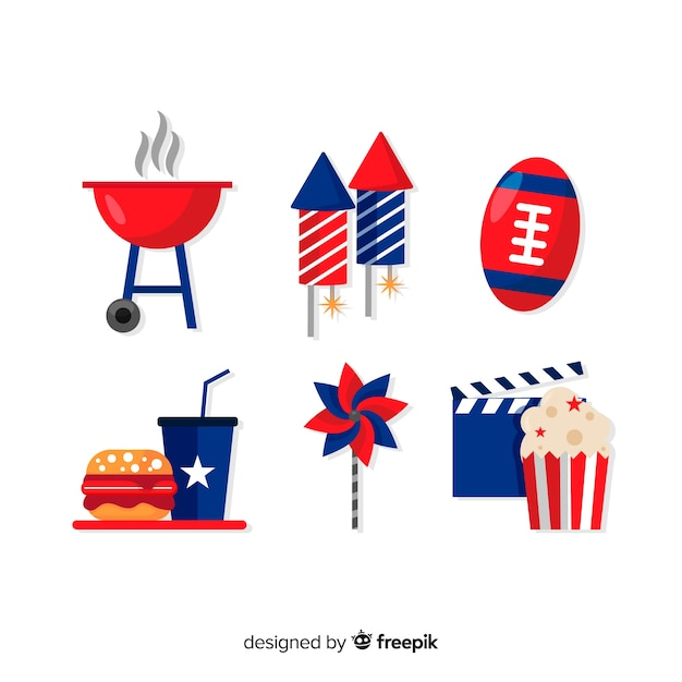 Fourth of july element collection Free Vector