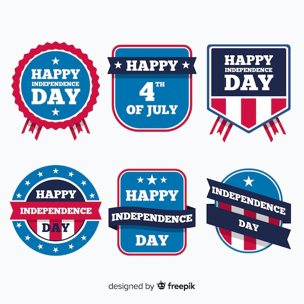 Fourth of july label collection Free Vector