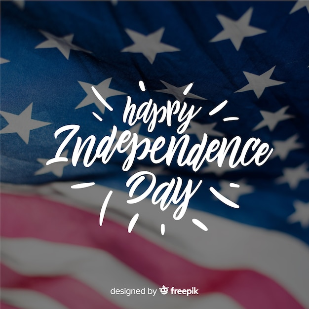 Fourth of july lettering Free Vector