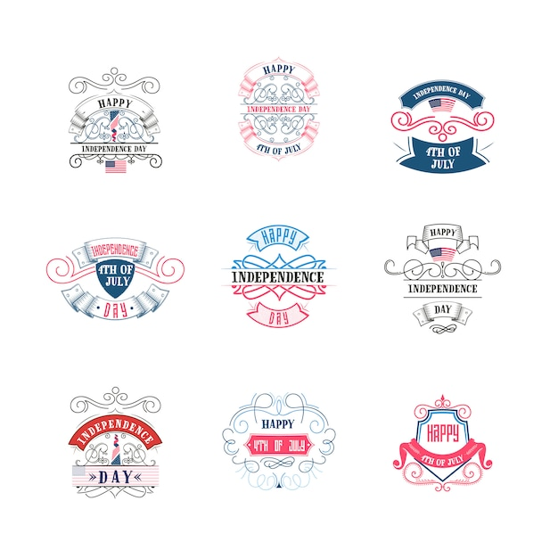 Fourth of july, united stated independence day badge set Premium Vector