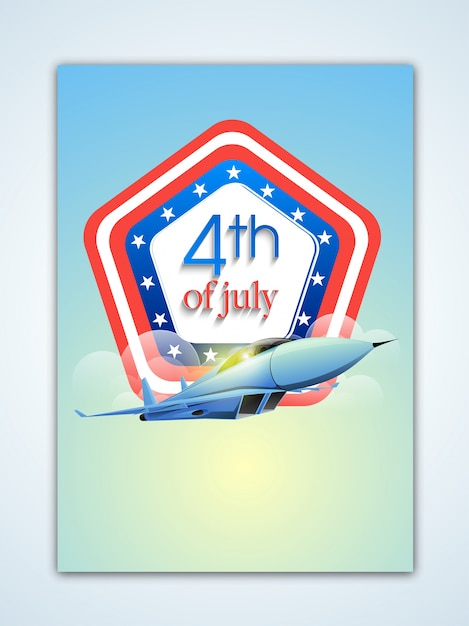 Fourth of july background with airplane